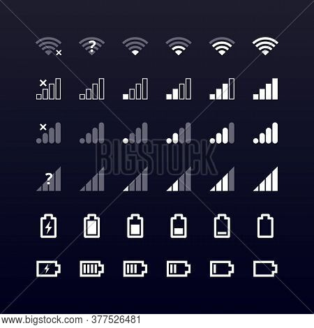 Mobile Gadget Bar Icons Set On Black. Wi-fi Level, 4g And 5g Network Signal Strength, Battery Charge