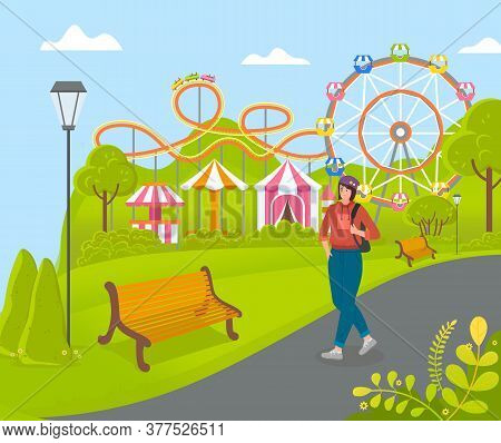 Amusement Park. Carousels, Slides, Ferris Wheel, Rides, Circus, Fair. Girl With Backpack Walks In Ci