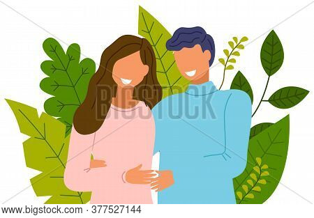 The Young Smiling Closeup Couple Standing And Embracing. Family And Relationship. Green Giant Leaves