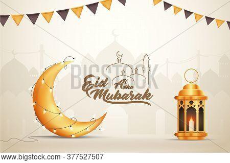 Beautilful Eid-al-adha Eid Mubarak Greetings Vector Illustration Background