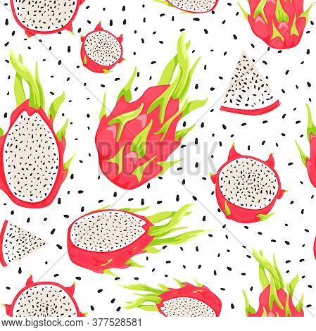 Seamless Tropical Pattern With Dragon Fruits, Fruit Seeds And Pitahaya Slices. Healthy Eating. Vecto