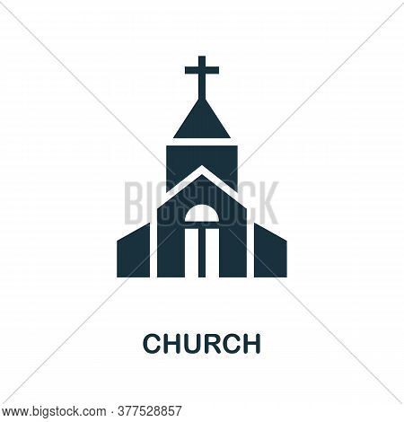 Church Icon. Simple Element From Religion Collection. Creative Church Icon For Web Design, Templates