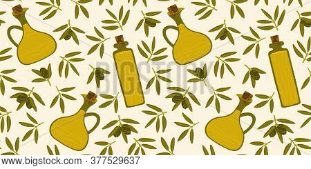 Pattern With Greek Food. Contemporary Illustration. Seamless Repeating Pattern. Green Olives, Bowls