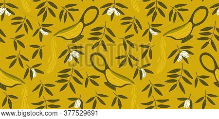 Pattern With Greek Food. Seamless Repeating Pattern. Olive Branches. Natural Products For A Mediterr