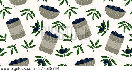 Gray Tin Cans And Bowls With Black Olives. Seamless Repeating Pattern. Olive Branches. Pattern With