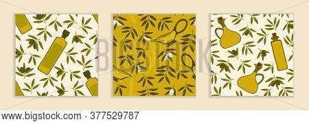 A Set Of Patterns In Beige And Green Colors. Green Olives, Bowls, Bottles Of Olive Oil. Seamless Rep