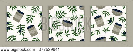 Natural Products For A Mediterranean Lunch. Set Of Seamless Repeating Patterns. Olive Branches. Patt