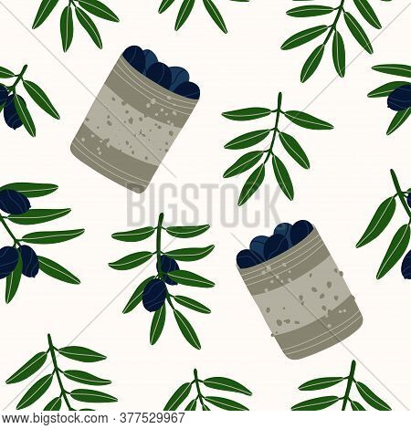 Contemporary Illustration. Seamless Repeating Pattern. Olive Branches. Natural Products For A Medite