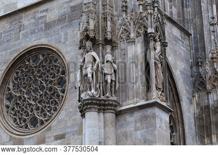Vienna, Austria - May 14, 2019: This Is A Fragment Of The Facade With Stucco Figures That Adorn The