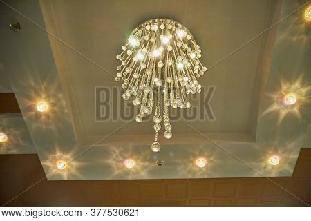 Chandelier On The Ceiling. Vintage Chandelier. Retro Ceiling Lamp. Beautiful Expensive Royal Chandel