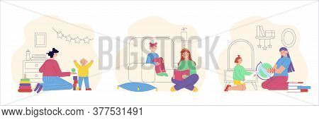 Babysitting Entertainment Educational Activities  3 Flat Compositions With Nanny Reading Playing Exp