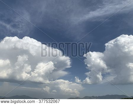 White Clouds In The Sky Right Before The Storm Over The Swat Valley In Pakistan