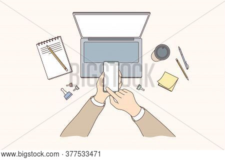 Technology, Mobile, Media, Business Concept. Businessman Woman Hands Using Smartphone In Office For
