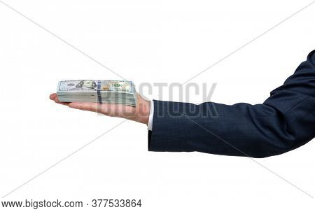 Man's hand in suit giving of money isolated on white background.