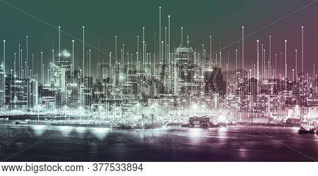 The Modern Creative Communication And Internet Network Connect In Smart City . Concept Of 5g Wireles