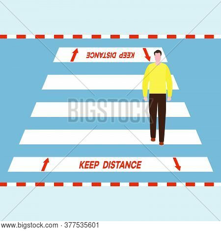 Vector Illustration Marking Of Pedestrian Crossings After Covid-19 Quarantine, Coronavirus Pandemic.