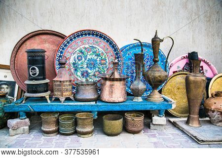 Hurghada, Egypt- Jan 30 , 2020:  The hookah at the street gift shop in Egyptian souvenir shop at Hurgada. Egypt.