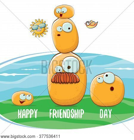 Happy Friendship Day Banner With Friends Tiny Kids Potato Characters Having Fun On Green Field. Happ
