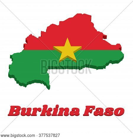 3d Map Outline And Flag Of Burkina Faso, Two Horizontal Bands Of Red And Green With The Yellow Five-