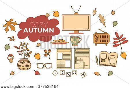Cozy Autumn. Set Of Colored Autumn Drawings. Hobbies - Crosswords And Dominoes, Newspaper And Books,