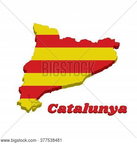 3d Map Outline And Flag Of Catalonia, The Red Stripe On Golden Background. With Text Catalunya.