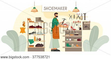 Shoemaker Custom Made Shoes Footwear Repair Service Fixing Heels On Ladies Red Pumps Flat Compositio