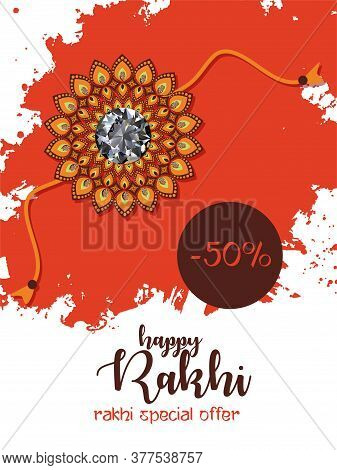 Illustration Of Greeting Card With Decorative Rakhi For Raksha Bandhan, Indian Festival For Brother