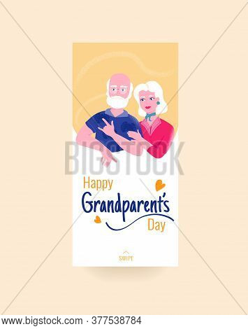 Happy Grandparents Day Colorful Social Media Story Template With Smiling Grandfather And Grandmother