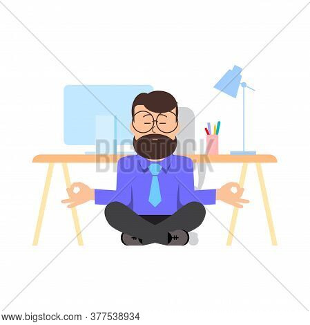 Man Is Meditating Sitting On The Floor With Legs Crossed In Office. Character - Man With A Beard And