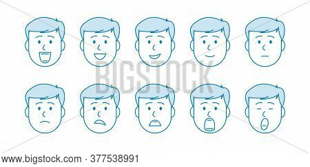 Line Set Of People Icons. Young Male Character With Different Emotions. Men S Faces Express Joy, Sad