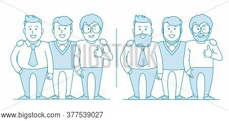 Three Friends Or Colleagues Are Standing Together. How They Began To Look After Many Years Photo For