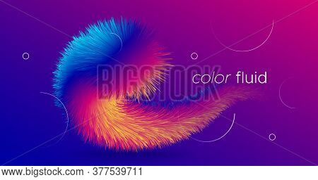 Fluid Abstract. 3d Dynamic Template. Liquid Creative Movement. Bright Fluid Abstract. Neon Gradient