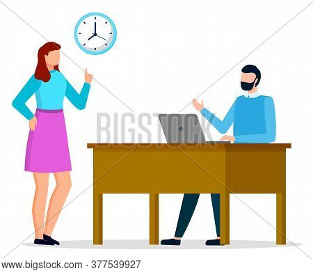Man And Woman Working Together At Office. Guy Sit On Chair By Table And Type On Laptop Or Computer.