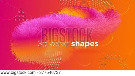 Neon Liquid Art. Orange Wave Template. Abstract Pattern. Color Modern Flyer. Geometric Movement. Tre