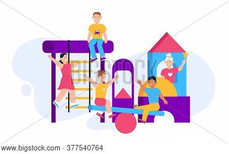 Vector Character Illustration Of Children Playing At Playground