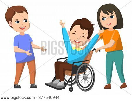 Disable Kid In Wheelchair Smiling Character Vector, Isolated Kiddo Helping Invalid Child. Boy With S