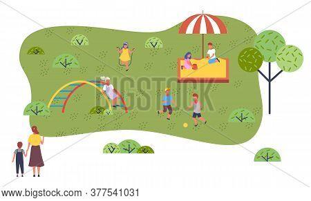 Children At Modern Kindergarten. Kids Playing Games, Having Fun At Playground, Walking. Children Pla