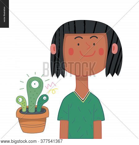 Bright Characters Portraits - Hand Drawn Flat Style Vector Design Concept Illustration Of A Smiling