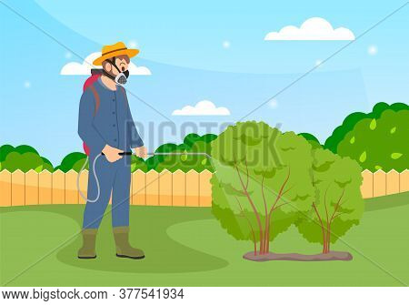 Spraying Pesticide And Insecticide. Processing Of Trees. Farmer Exterminator In A Protective Suit Ho