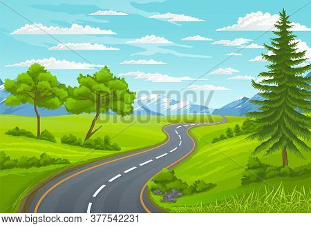 Road To The Mountain. Scenic Summer Landscape With Asphalt Road Passing Through Forest To High Hills