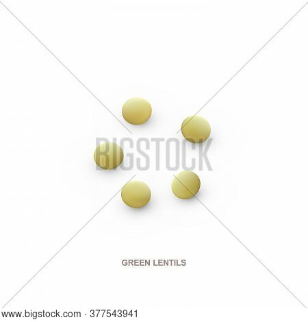 Realistic Green Lentils For Healthy Eating. 3d Render. Vector Illustration Isolated On White Backgro