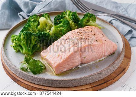 Steam Salmon And Vegetables, Broccoli, Paleo, Keto, Lshf Or Dash Diet. Mediterranean Food