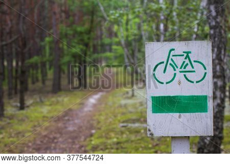 Cycle Path In The Forest. Bicycle Path Wooden Sign.