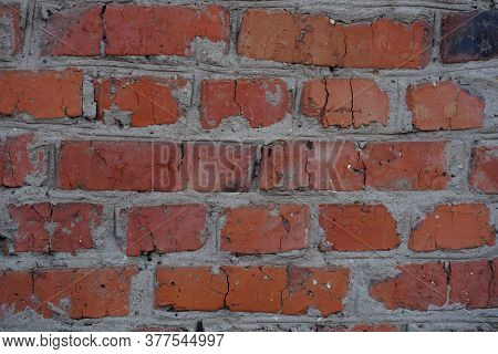 Rough Aged Masonry Background. Backdrop Of Old Red Bricks With Shabby Texture