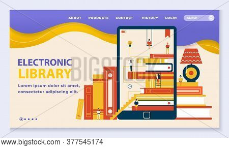 Electronic Online Library For Reading Books On Gadgets. Web Page With Navigation Menu And Copy Space