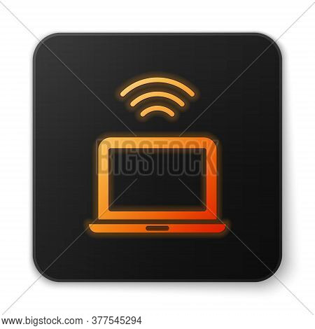 Orange Glowing Neon Wireless Laptop Icon Isolated On White Background. Internet Of Things Concept Wi