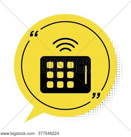 Black Wireless Tablet Icon Isolated On White Background. Internet Of Things Concept With Wireless Co
