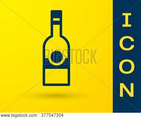 Blue Glass Bottle Of Vodka Icon Isolated On Yellow Background. Vector