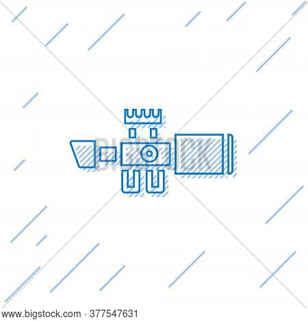 Blue Line Sniper Optical Sight Icon Isolated On White Background. Sniper Scope Crosshairs. Vector