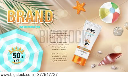 Sun Protection, Sunscreen And Sunblock Ads Design, Top View. Cosmetic Banner With Sea Shells And Tro